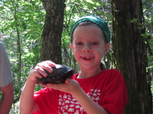 She was so ready to put the turtle in our pack and take it home!