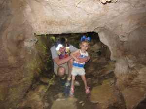 In the cave!  It was really dark but my flash lit it up.